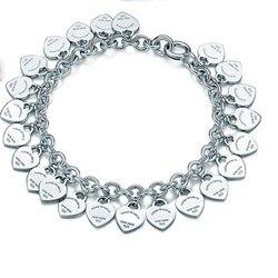 Plata de Ley 925 clásico de moda de plata corazón tarjeta señoras pulsera joyería regalo de vacaciones