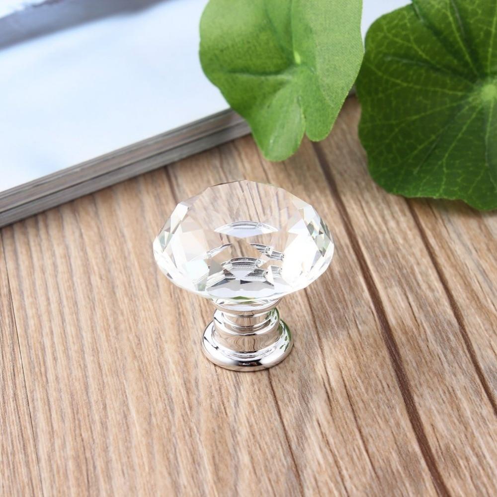 10Pcs 30mm Diamond Plated Shape Crystal Glass Knob Cupboard Drawer Pull Handle New Kitchen Door Knob Accessories
