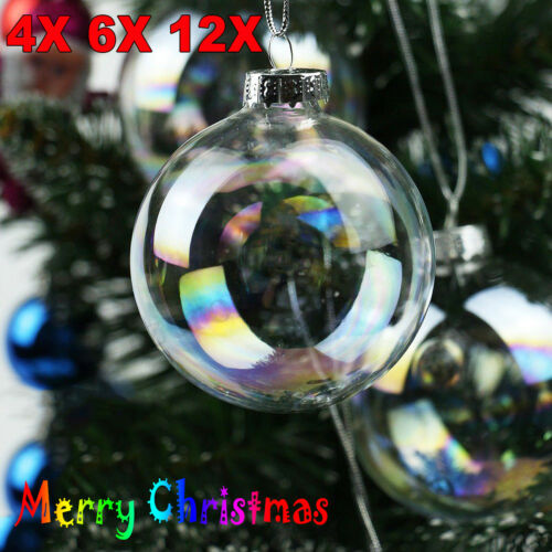 4/8/12Pcs 6cm Clear Iridescent Glass Ball Christmas Ornament Wedding Baubles Ornament Decorate Evening Party Pendant Balls