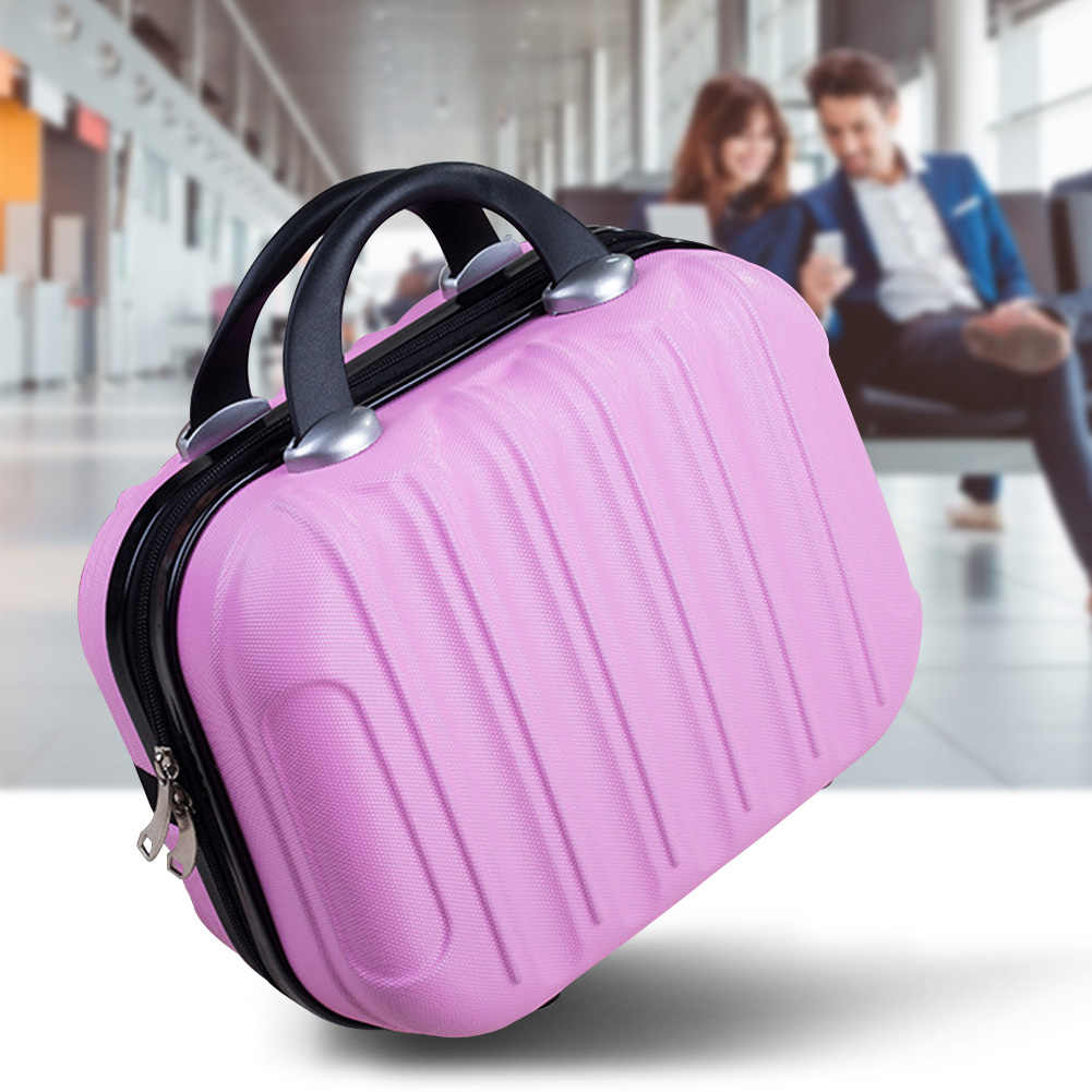 14 Inch Vertical Striped Suitcase Case Hard Cosmetic Bag Carrying Anti Pressure Travel ABS Small Solid Practical With Strap