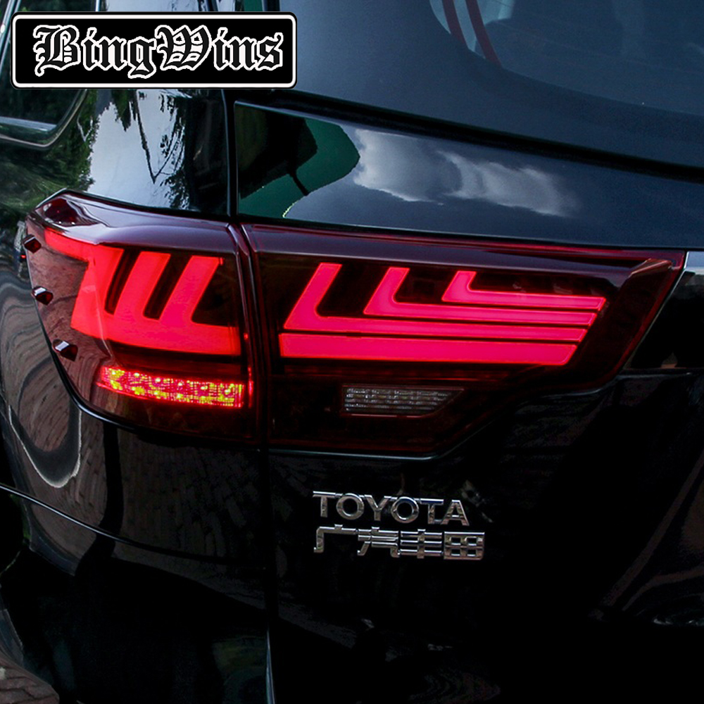 BeingWins Car Styling for Toyota Highlander TailLights 15 19 New Kluger LED Tail Light Lexus Type dynamic turn signal Rear Lamp