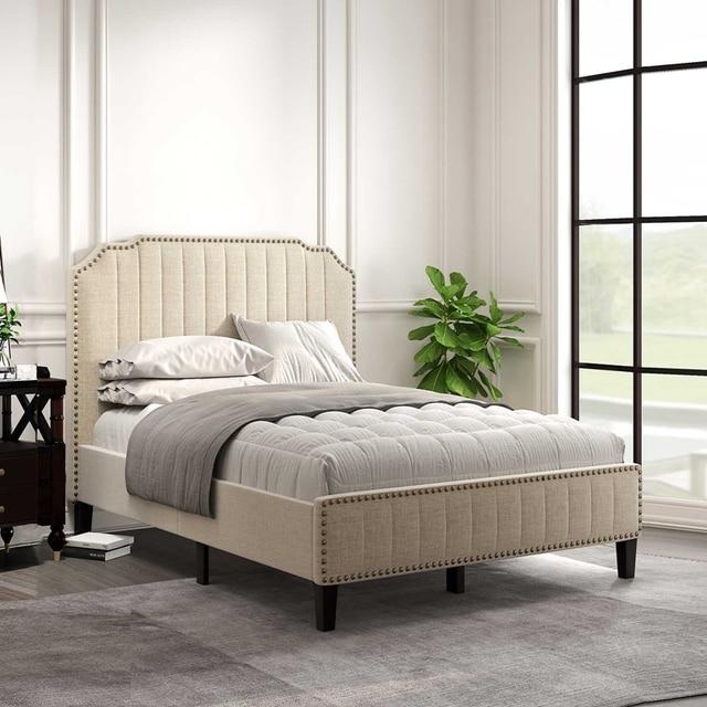 Upholstered Platform Bed With Nailhead Trim  1