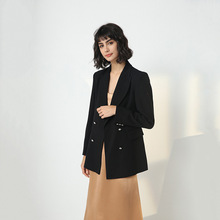2019 Black Double Buckle Slim High-end Stars with Long Sleeve Ladies Suit Notched Breasted Women Jackets and Coats
