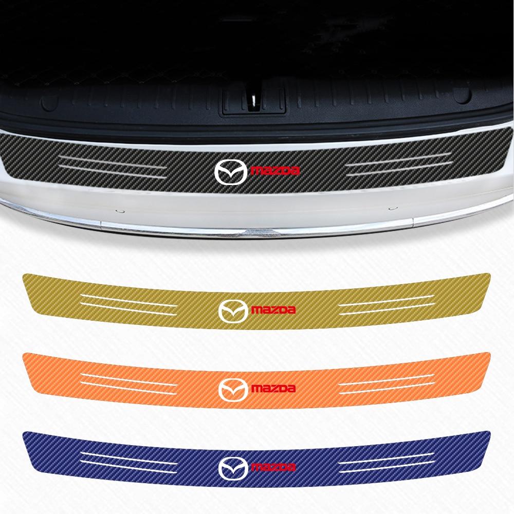 Car Trunk Guard Plate Carbon Fiber waterproof Protector Sticker For Mazda Axela 2 3 MX6 CX 5 CX4 CX3 CX5 Car Styling Accessories