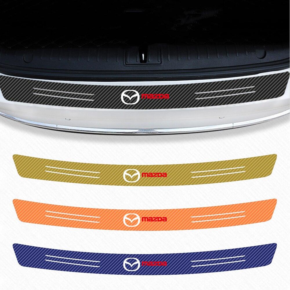 Placa de protección de maletero de coche, adhesivo Protector impermeable de fibra de carbono para Mazda Axela 2 3 MX6 CX 5 CX4 CX3 CX5, accesorios de diseño de coche