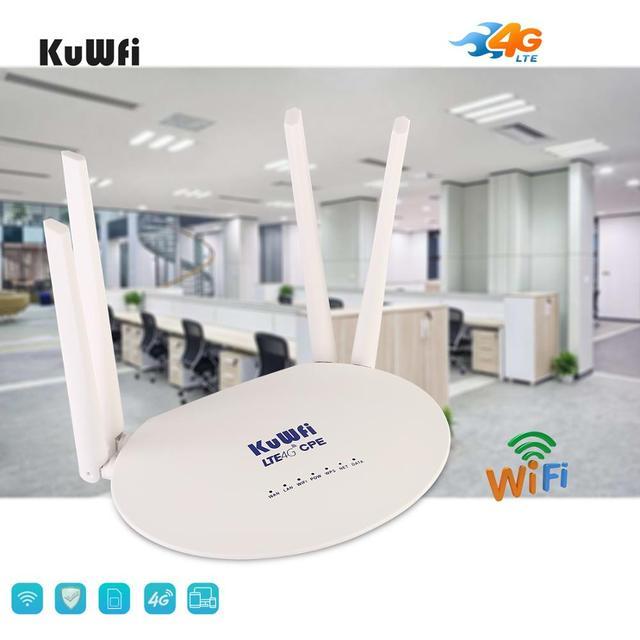 KuWfi 4G LTE CPE Router 300 mb/s Router bezprzewodowy 3G/4G Router wi-fi LTE z gniazdo karty Sim i 4 szt. Antena zewnętrzna 32 użytkowników
