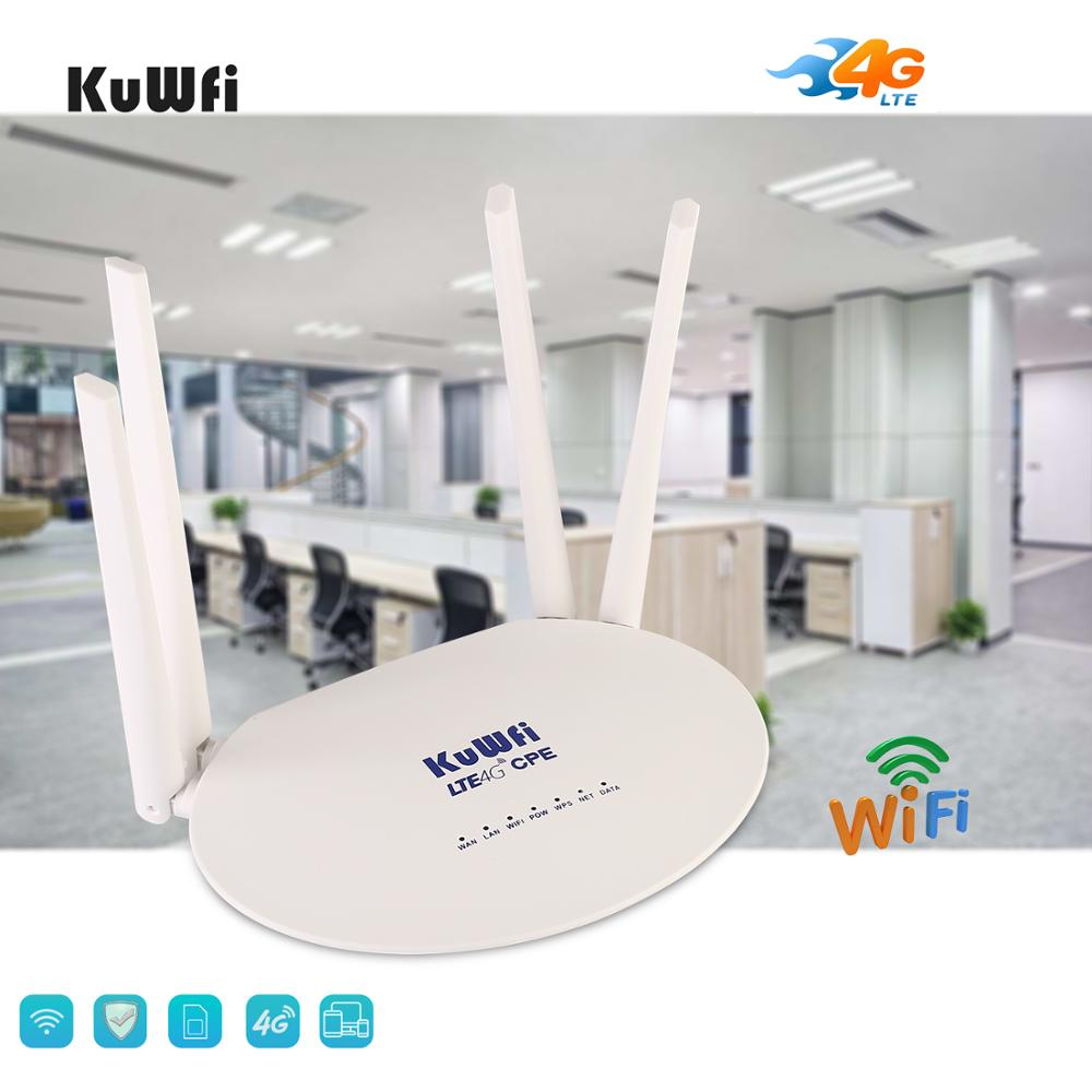 KuWfi 4G LTE CPE Router 300Mbps Wireless Router 3G/4G LTE wifi Router con Sim ranura para tarjeta y antena externa de 4 piezas 32 usuarios - 4