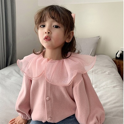 Mihkalev 2021 Autumn Kids Jacket And Coat 2-7Year Lace Single breasted Baby Girl Cardigan Coat Children Clothes Outerwear