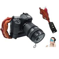 Universal dslr câmera de couro aperto da mão alça de pulso placa se encaixa para canon 1000d 550d 600d nikon sony fujifilm câmera Alça da câmera     -