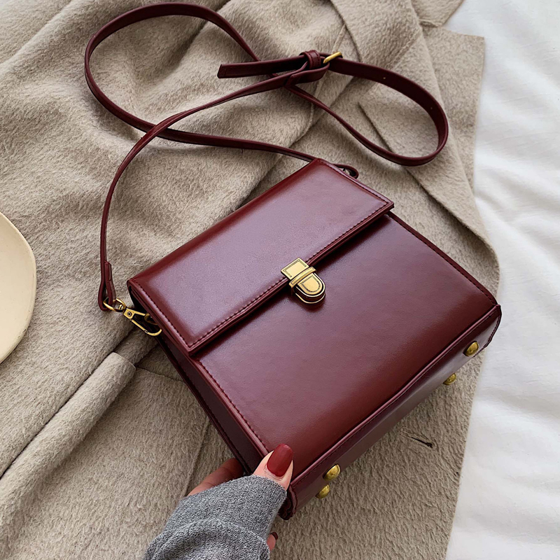Simple Style Vintage Leather Crossbody Bags For Women 2020 Lock Luxury Shoulder Messenger Bag Female Travel Handbags And Purses