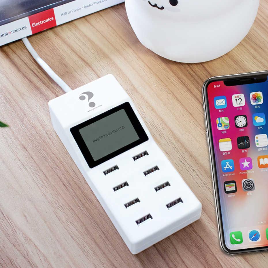 Universal 8 Port Smart USB Charger LED Display 8A Beberapa Dinding Adaptor HUB Adaptor Soket untuk Ponsel Tablet PC kamera