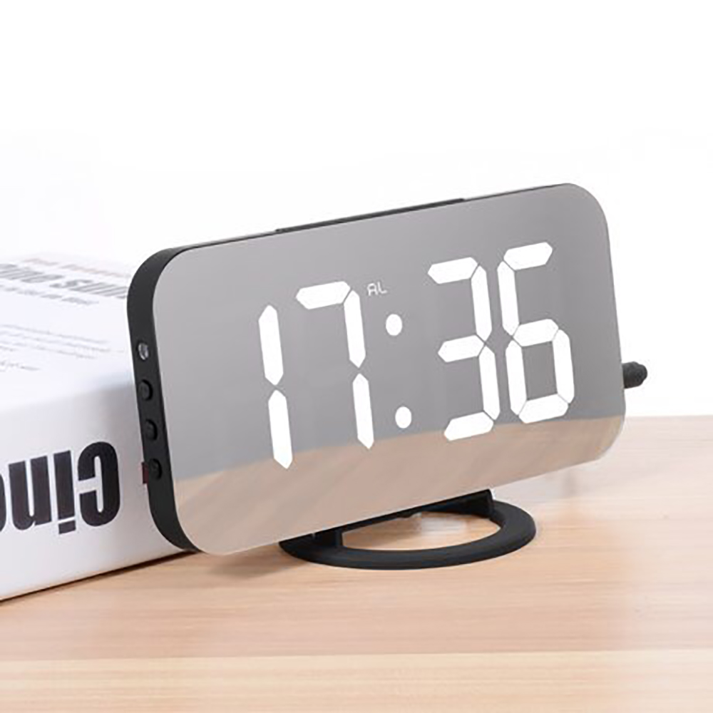 Alarm Clock Digital Electronic Smart Mechanical LED Display Time Table Desk 2 USB Charger Ports For Iphone Android Mirror Snooze image