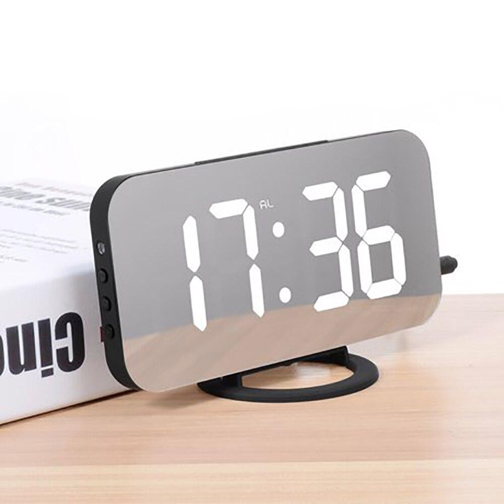 Despertador electrónico Digital, pantalla LED mecánica inteligente, mesa de tiempo de escritorio con 2 puertos de carga USB para Iphone Android Mirror Snooze