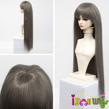 Size 1/3 1/4 1/6 BJD Doll Wigs Hair High-temperature Synthetic Fiber Long Straight Red Brown Khaki White Doll Wig