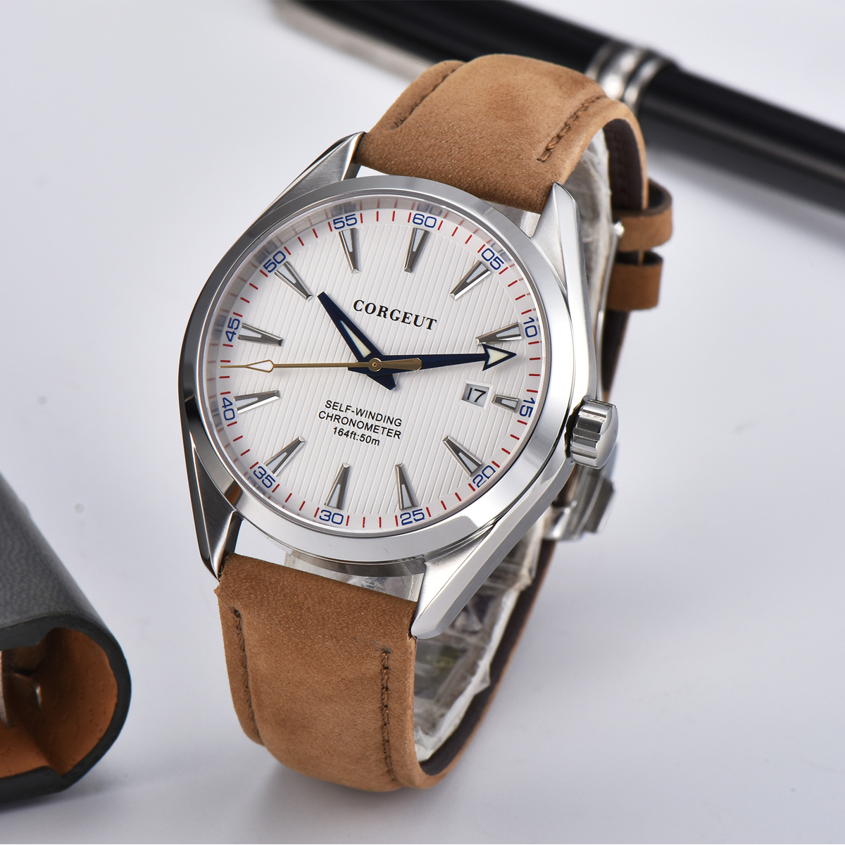 41mm Corgeut mens watch white dial Date calendar Automatic Mechanical Sapphire crystal leather wristwatch men luxury top brand
