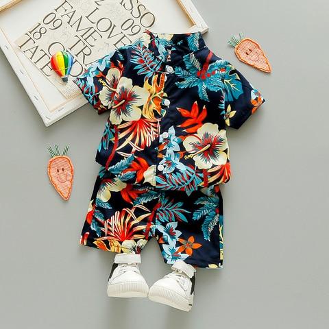bebe menino roupas da crianca criancas roupas moda impresso flor folha de manga curta camisa