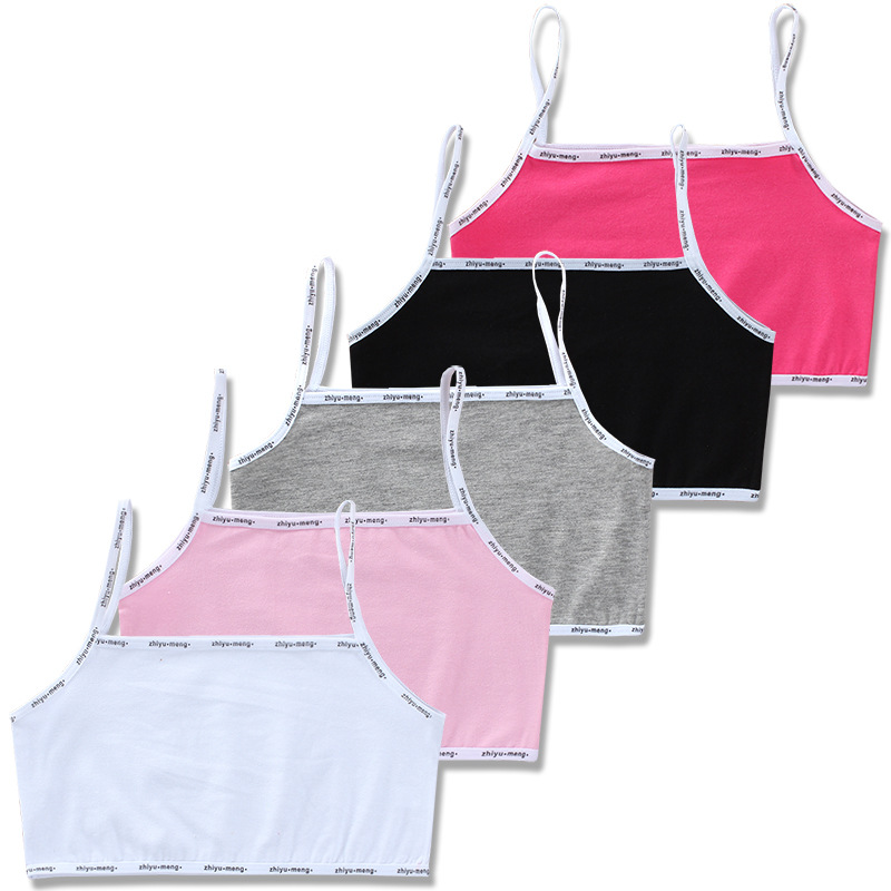 3pc/Lot Kids Underwear Model 100% Cotton Girls Tank Top Candy Color Undershirt Girls Singlet Baby Camisole Bra Tops 1