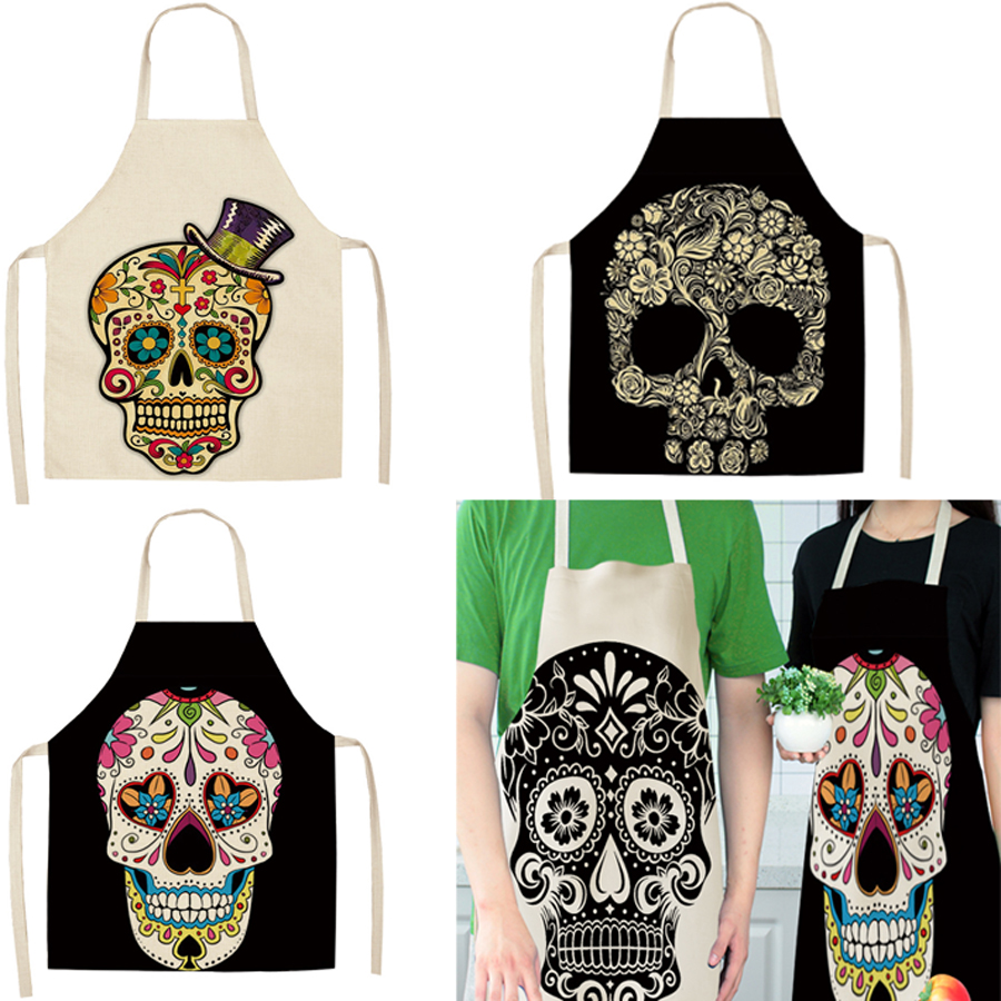 Skull Pattern Kitchen Sleeveless Aprons For Women Cotton Linen Bibs Household Cleaning Pinafore Home Cooking Apron 53*65cm