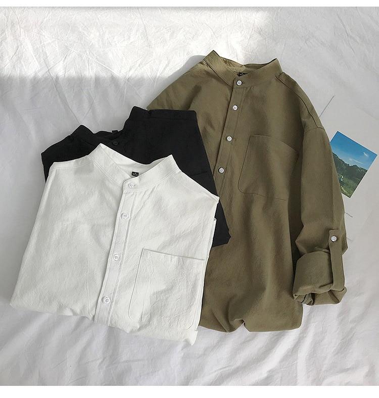 Ha438bcdc21644b73b1de59ce9ad24bb79 Simple Design Solid Colors Long Sleeve Shirts Korean Fashion Mandarin Collar 100% Cotton White Black Shirt Soft and Comfort