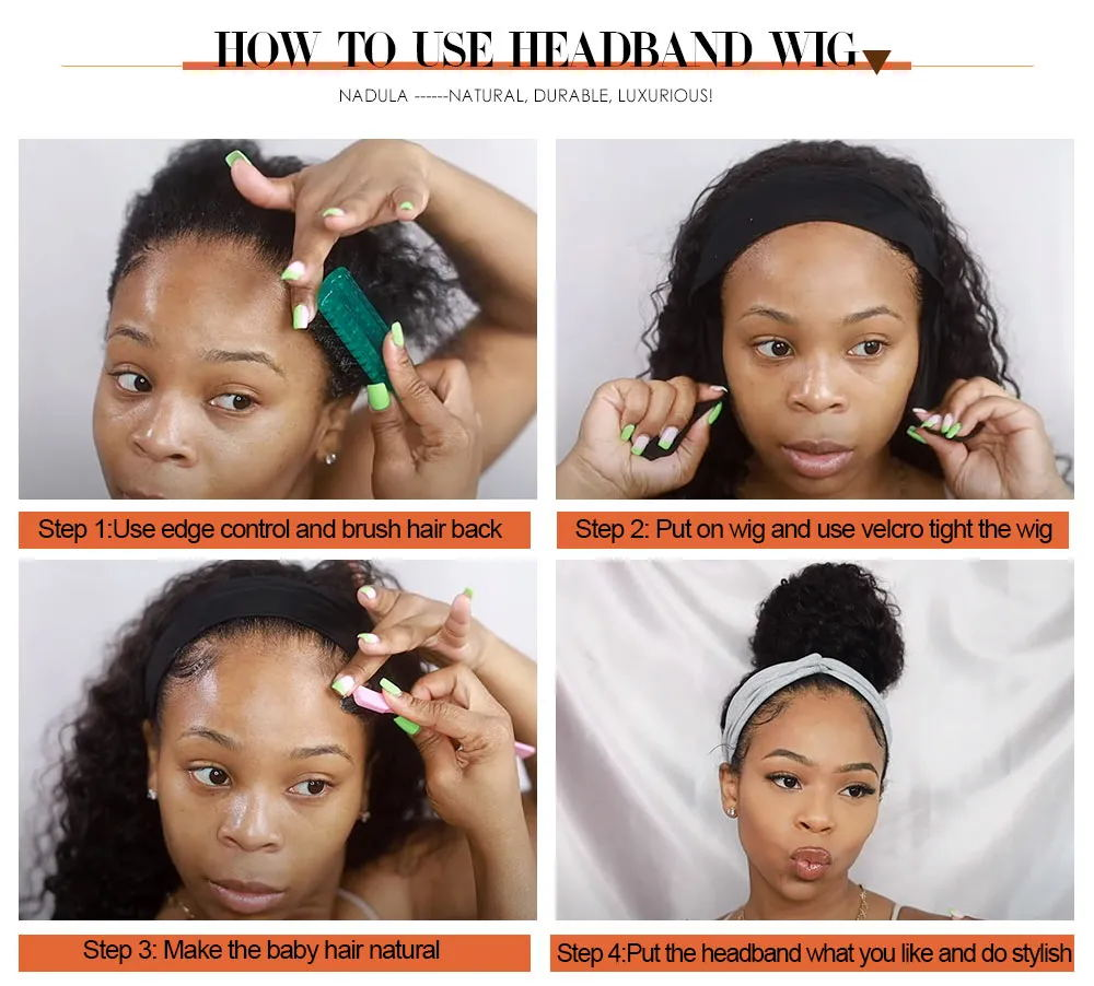 Headbands Wig   Kinky Straight  Glueless Natural Wig With Head Band Full Machine Made Wig 150% Density 6