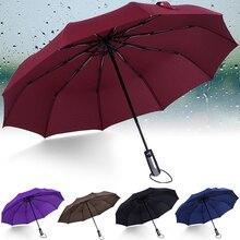 Automatic Umbrella Windproof Folding Umbrellas Three Male Commercial Compact Large Durable Black 10K Parasol