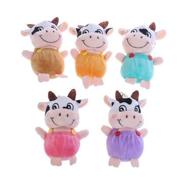 1 Pc New 10cm Little Cow Stuffed Animal Plush Toys , Key chain Plush Dolls , Kid's Plush Toys Chinese New Year