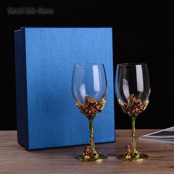 European Crystal Glass Champagne Goblet Red Wine Glass Goblet Set Creative Wedding Glasses Kitchen Dining Bar Vaso Gift FJ024