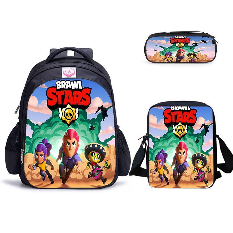 Schoolbag 3PCs/Set Children's School Backpack Brwal Stars Games Kids School Bags Cartoon Animal Design Teenagers Book-Bags Set