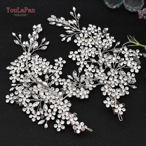 Image 2 - Роскошные свадебные украшения для волос TOPQUEEN с искусственными кристаллами, свадебные аксессуары, Свадебный зажим для волос, свадебная тиара, свадебная повязка на голову