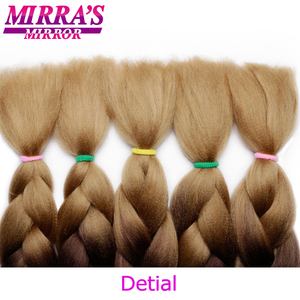 "Image 5 - Mirras Mirror 5Pcs 3 Tone Ombre Jumbo Braids Hair For Braiding Brown Synthetic Hair Extensions Ombre Crochet Hair 24"" 100g"