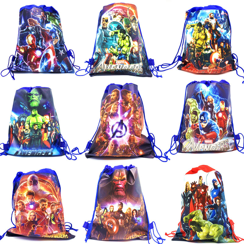 Drawstring Bag For Boys Travel Storage Package The Avengers Party Theme Birthday Gift Bags Non-woven Fabrics School Backpacks