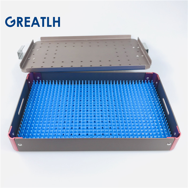 Aluminium Alloy Sterilization Tray Case Disinfection Box Autoclavable Holder For Holder Instrument With Silicone Mat