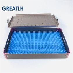 Aluminium legierung sterilisation tray fall desinfektion box autoklavierbar halter für halter instrument mit silikon matte