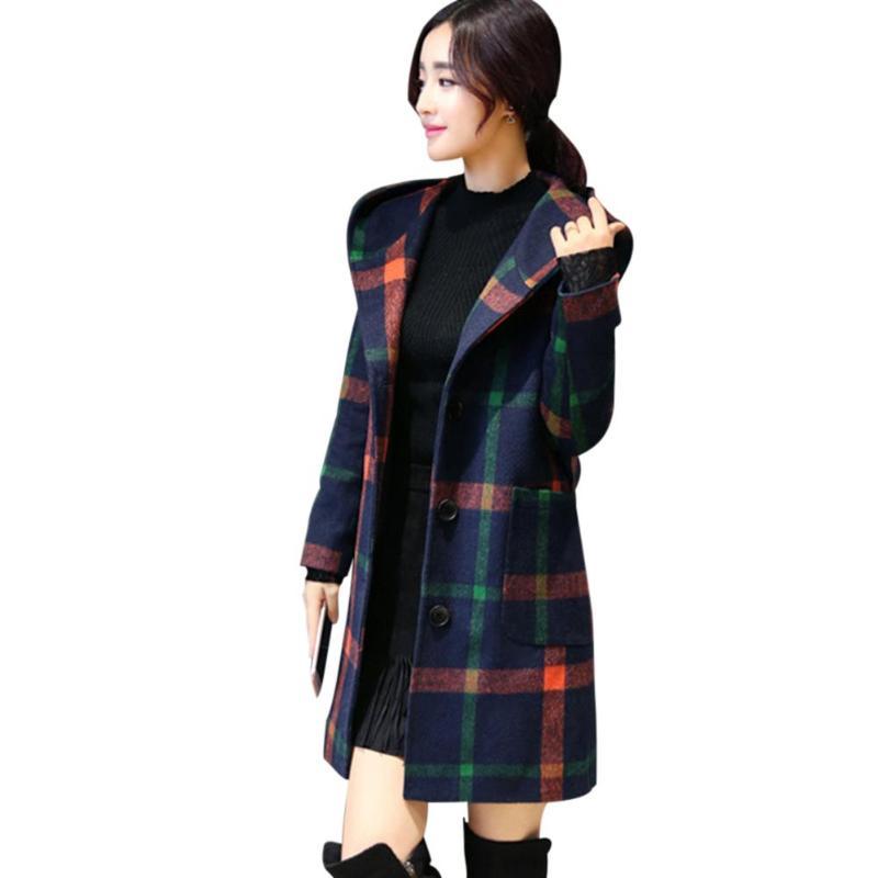 Женское шерстяное осенне-зимнее пальто с длинным рукавом в консервативном стиле с капюшоном в английском стиле, Женское зимнее пальто в кле...