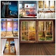 Yeele drewniane na okno sięgające podłogi drzwi drzew leśnych jesień boże narodzenie fotografia tło fotograficzne tła dla rekwizyt do studia fotograficznego