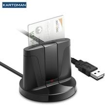 KARTOMAN USB 2.0 czytnik kart inteligentnych pamięci dla ID banku EMV elektroniczny DNIE dni citizen sim cloner adapter złącza komputer PC