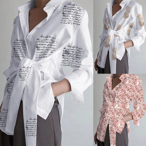 Fashion Women Long Sleeve Blouse Casual Lace Up Shirts Lapel Neck OL Asymmetric Tops Spring Blusas Femininas