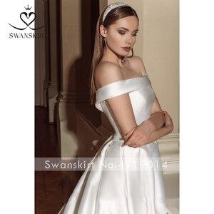 Image 3 - Swanskirt Vintage Áo Cưới Năm 2020 Thời Trang Cổ Thuyền Lệch Vai Chữ A Pha Lê Satin Công Chúa Cô Dâu Đầm Vestido De Novia GY24