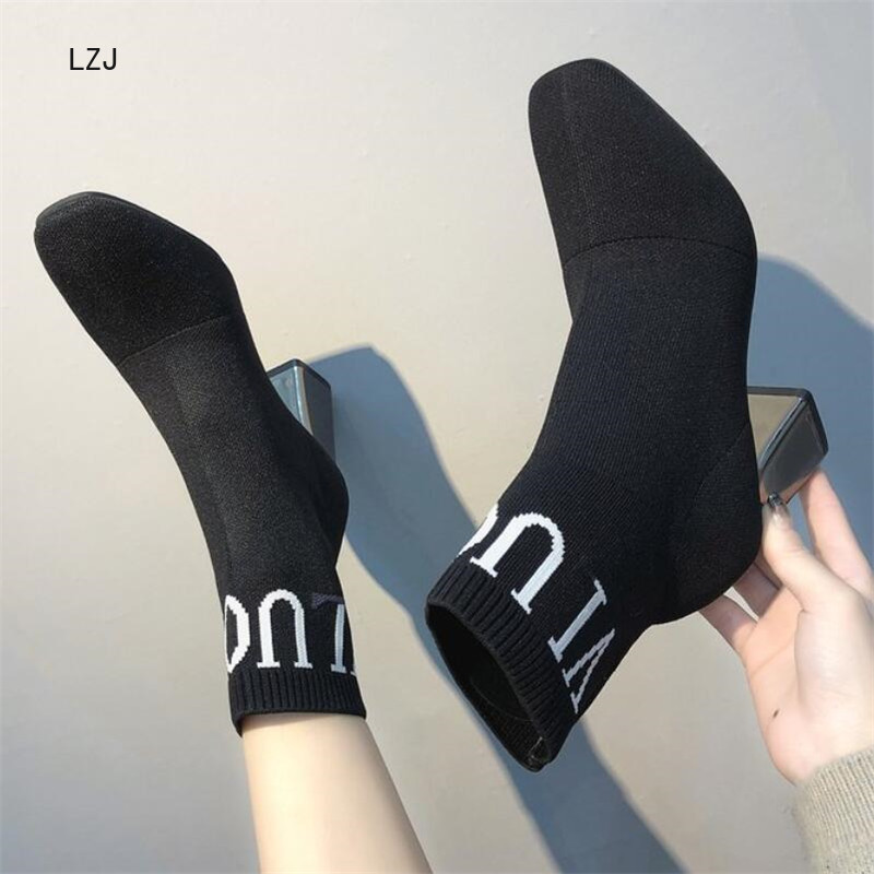 LZJ 2019 Women Black Ankle Sock Boots Fashion Autumn Stretch Fabric Boots Chunky High Heels Square Toe Women Dress Shoes