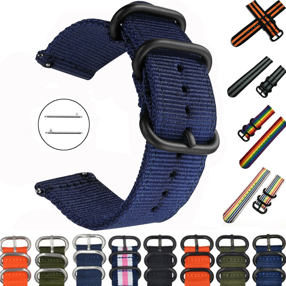 20mm 22mm watch strap For Samsung Galaxy watch 46mm 42mm Active2 Active1 Gear S3 frontier Sports nylon nato strap(China)