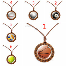 Vintage Wooden Necklace Sports Ball Fine Accessories Basketball Football Volleyball Rope Pendant Jewelry