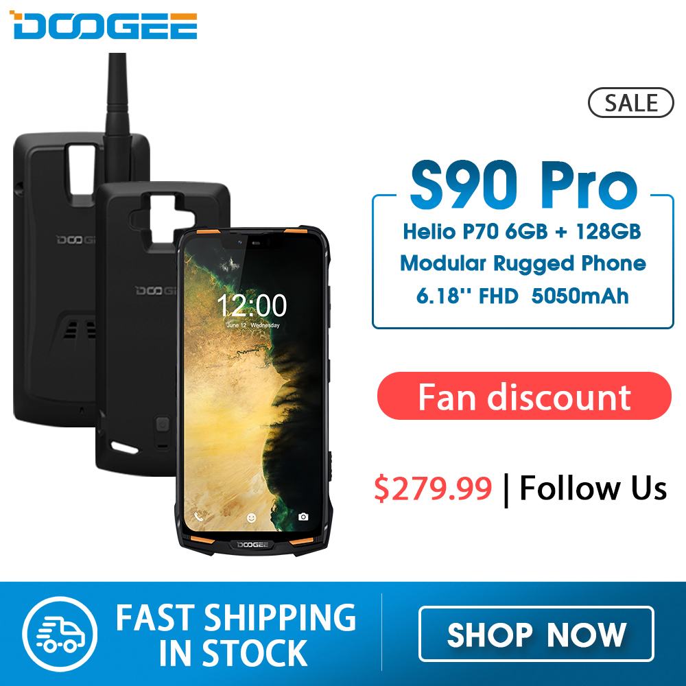 IP68 DOOGEE S90 Pro Modular Rugged Mobile Phone Helio P70 Octa Core 6GB 128GB 16MP+8MP Android 9 6.18inch Display 12V2A 5050mAh