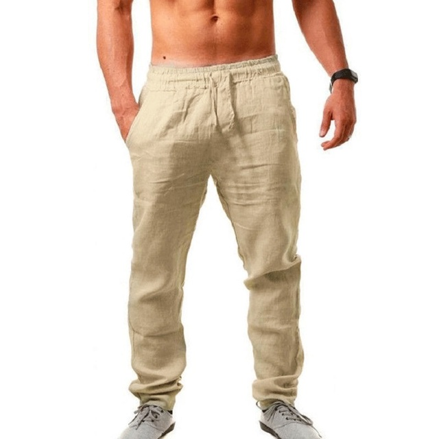 Men's Cotton Linen Pants Summer Solid Color Breathable Linen Trousers Male Casual Elastic Waist Fitness Pants Hip-Hop Streetwear 2