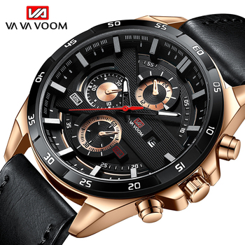 VA VA VOOM Casual Watch Men Date Clock Sport Quartz Watches Male Big Dial Wristwatch Waterproof Leather Strap Watch montre homme