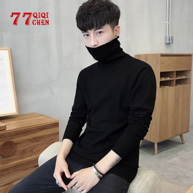 Mens Turtleneck Sweaters Autumn Winter Slim Solid Color Casual Knitted Sweater Men Sweater Plus Size 3XL Pullovers Sueter Hombre
