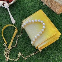 Pearl Chain Crossbody Bags For Women 2021 Fashion Stone Pattern Mini Shoulder Bags PU Leather Branded Tote Handbags