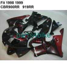 Bodywork for Honda fairings CBR900RR 919 1998 1999 red flames black fairing kit CBR 919RR 98 99 KL29