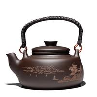 New Chinese Tea Pot Kung Fu Zisha Large Capacity Tea Pot With Filter Creative Handle Purple Clay Teapot Kettle Set