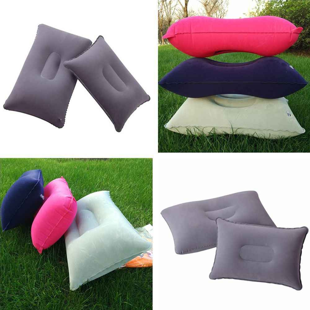 Grey and Blue 2 Pcs Inflatable Air Pillow Square Napping Pillow Inflatable Compact Camping Backpacking Pillow Outdoor Blow Up Air Pillow Tent Accessory