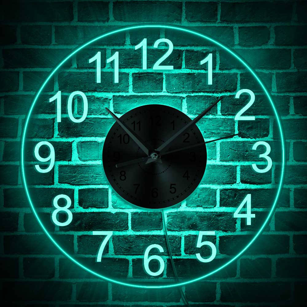 Wall-Clock Decorative Illuminated Arabic Acrylic Vintage LED for 12-Numerals title=